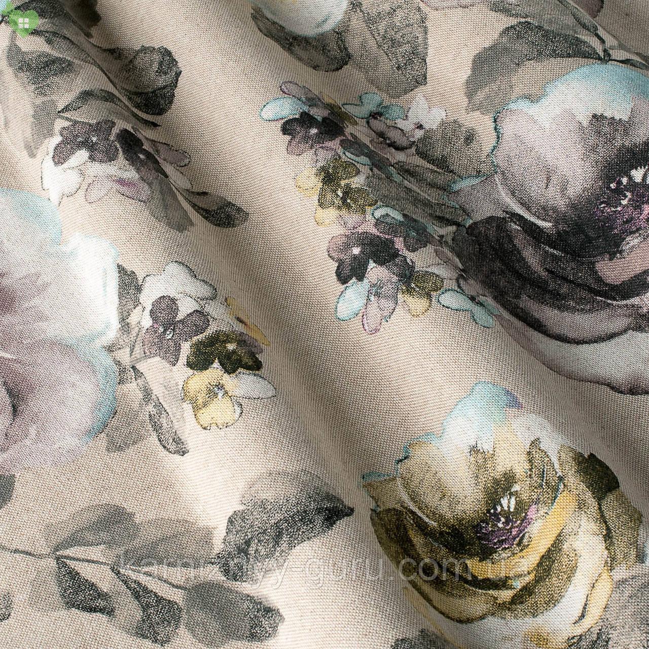 Декоративная ткань с мелкими цветками темно-серого цвета Испания 82645v2