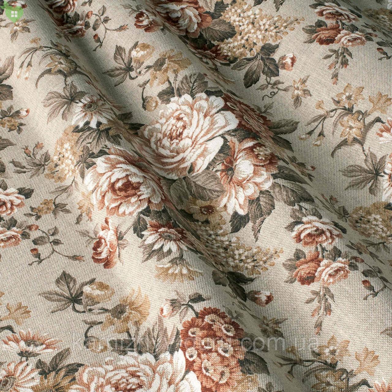 Декоративная ткань с коричневыми и бежевыми цветами на светло-сером фоне Испания 82357v2