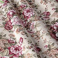 Декоративная ткань с коричневыми и бордовыми цветами на светлом фоне Испания 82356v1