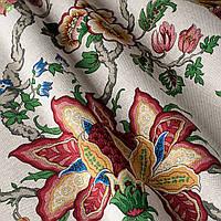 Декоративная ткань крупные тропические растения бордового и ярко-зеленого цвета на белом Испания 82141v4