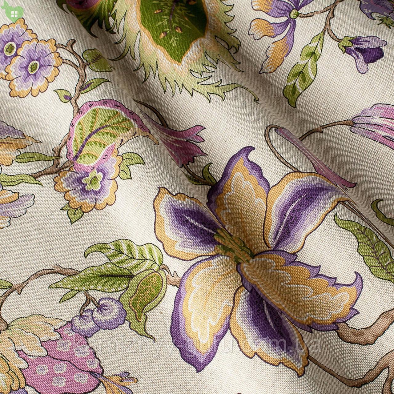 Декоративная ткань крупные тропические растения фиолетового и бежевого цвета на льне Испания 82140v3