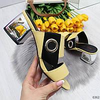 Эффектные желтые женские шлепанцы босоножки на фигурном каблуке 36-23,5см