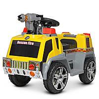 Пускает мыльные пузыри, Электромобиль детский Пожарная машина ZPV119AR-6, со светом и звуком
