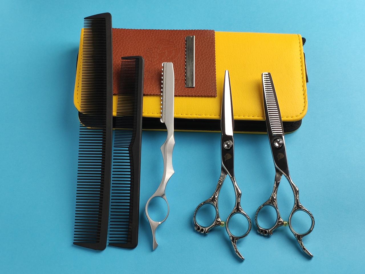 """Univinlions 6 """" дюймов профессиональные парикмахерские ножницы для стрижки волос комплект с чехлом JP440C VG10"""