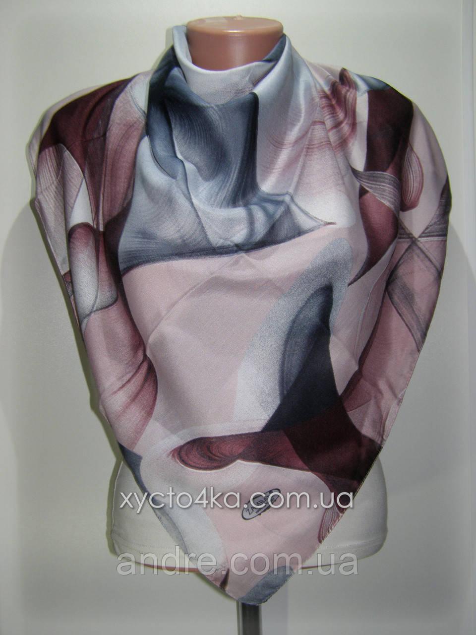 Лёгкий платок на натуральной основе, серый с розовым