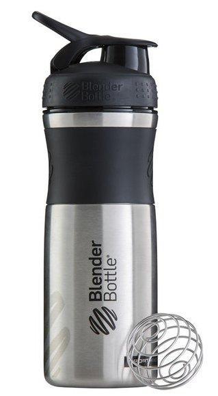 Спортивная бутылка-шейкер BlenderBottle SportMixer Stainless Steel Black 820мл (из нержавеющей пищевой cтали)