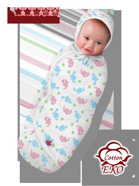 """Пеленка-кокон на липучке для новорожденного """"Дино"""" - Ontario Baby (DS3/Summer)"""