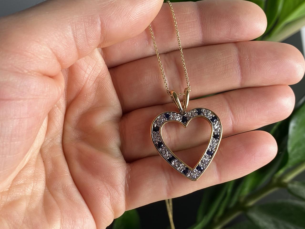 Срібна ланцюжок з кулоном у позолоті з сапфірами і фіанітами Серце