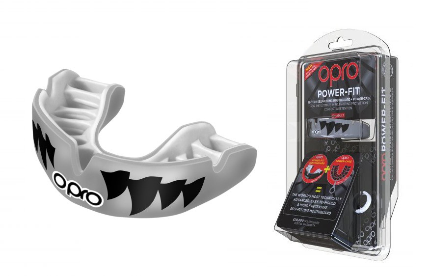 Капа OPRO Power - Fit Aggression-Jaws Silver / White (art. 002270002)