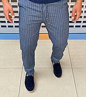 Мужские летние брюки Loro Piana H0692 голубые