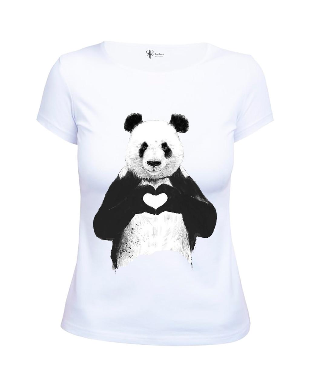 Прикольная женская белая футболка из хлопка с принтом Панда