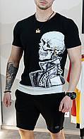 Футболка мужская с принтом череп - цвет черный / есть 4 цвета