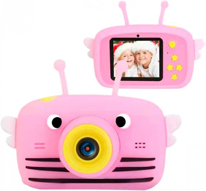 Детский цифровой фотоаппарат Smart Kids TOY G9 Пчелка Розовая 2 камеры 20MP Full HD 1080P