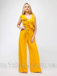 Летний женский желтый комбинезон-трансформер с широкими брюками палаццо (Валери lzn)