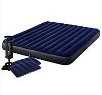 Intex Надувной матрас 64765 152x 203 x 25 см., двухместный,2 подушки, с ручным насосом, в коробке