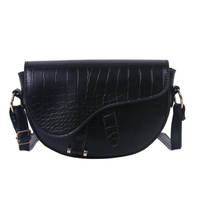 Модная маленькая женская сумка. Сумка седло женская стильная под крокодила. Сумочка полукруглая (черная)
