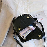 Модная маленькая женская сумка. Сумка седло женская стильная под крокодила. Сумочка полукруглая (черная), фото 6