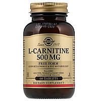 L- Карнитин, L-Carnitine, Solgar, 500 мг, 60 таблеток
