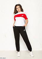 Стильный женский спортивный костюм с футболкой размеры 48-54 арт 4110