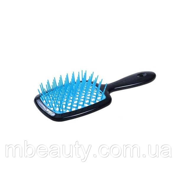 Расческа Janeke 1830 Superbrush Black & Blue (черная с голубым) *Made in Italy