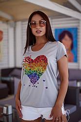 Женская футболка сердце 48-62