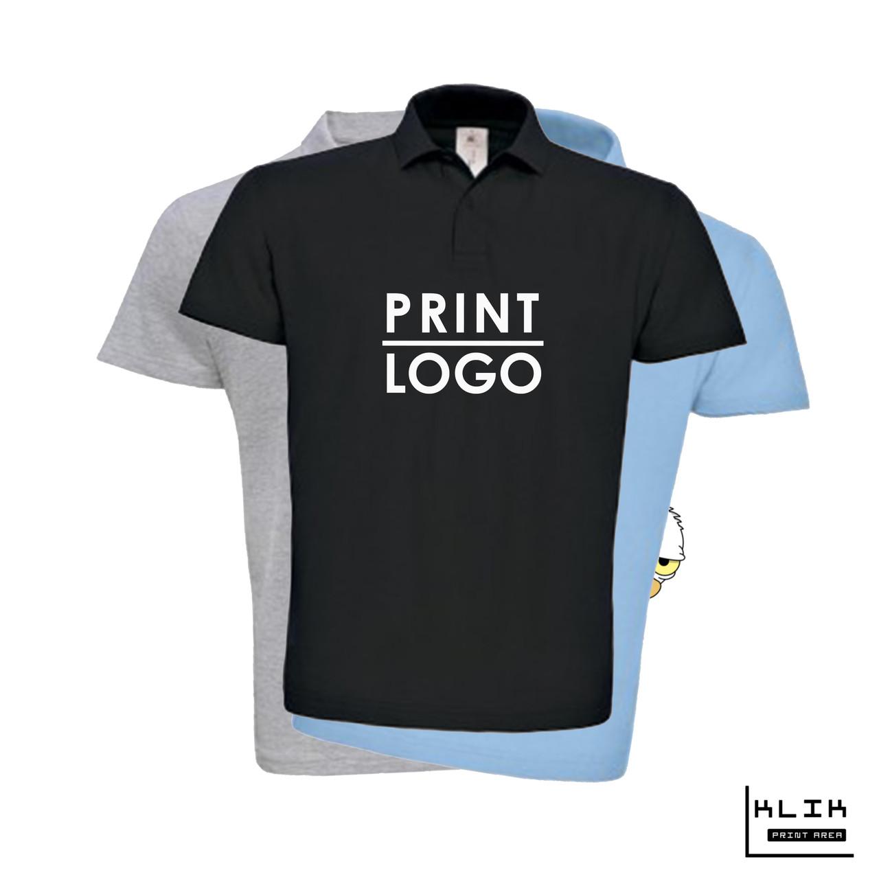 Печать на футболке Polo мужской (принт размером А4)