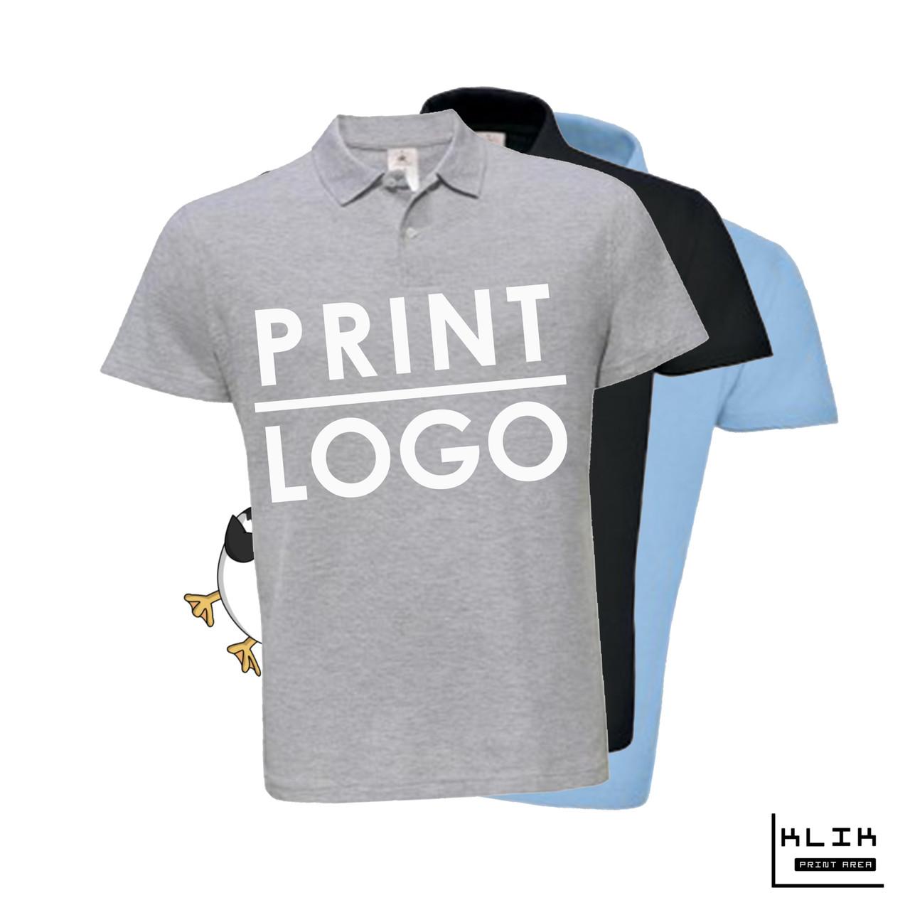 Печать на футболке Polo мужской (принт размером А3)