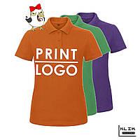 Печать на футболке Polo женской (принт размером А3)