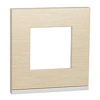 Рамка 1-пост горизонтальная клен/белый New Unica Pure