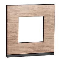 Рамка 1-пост горизонтальная дуб/антрацит New Unica Pure