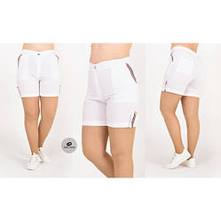 Белые женские летние шорты из бенгалина батал  48-56 размер, фото 2
