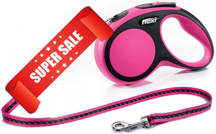 Поводок-рулетка Flexi New Comfort S, 5 м, трос, розовый