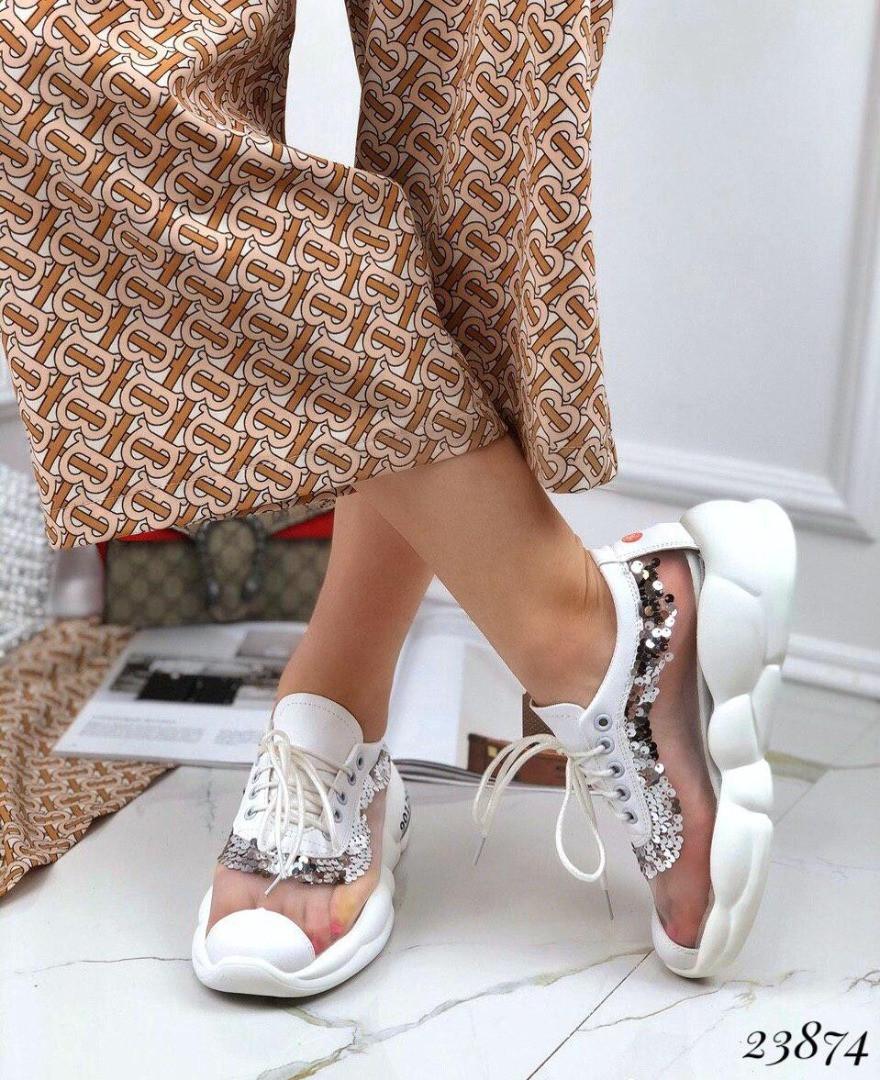 Кроссовки на дутой подошве,вставка сетка,с пайетками. 🔺 Цвет: белый 38 размеры