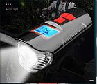 Велосипеный фонарь клаксон спидометр и пульт 800lm USB LCD вело фара, фото 5