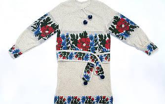 Вязаная платье с вышивкой для девочки - Веснянка