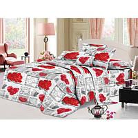 Двуспальное постельное белье София 3D  - Сердечка из букетов роз