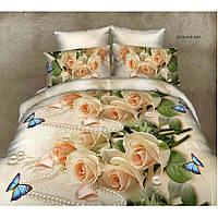 Двуспальное постельное белье София 3D  - Роза бабочка и жемчуг (50х70)