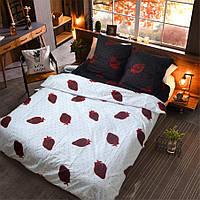 Двуспальное постельное белье Бязь Gold - Красное и черное с клубничкой