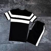 Мужской костюм трикотажный черный с белыми лампасами футболка и шорты Premium S M L XL (46 48 50 52)