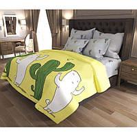 Евро постельное белье Бязь Gold - Кот и кактус