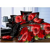 Евро постельное белье Бархат 3D - Красная роза на черном