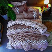 Двуспальное постельное белье Сатин Люкс (100% хлопок) - KWL-1905-A-B (Простыня на резинке)