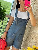 Джинсовый комбинезон женский шортами, стильный, 211-0602