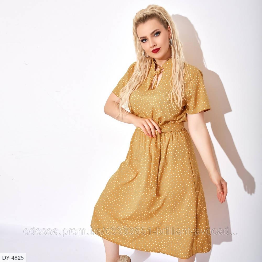 Лёгкое летнее платье длины миди в горошек