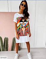 Платье футболка в супер-модных принтах! Размер 48-50!