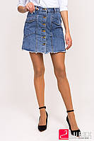 Джинсовая юбка на пуговицах QDBH Fashion - джинс цвет, L (есть размеры), фото 1