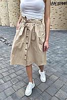 Юбка миди с поясом декорированная пуговицами LUREX - молочный цвет, one size (есть размеры), фото 1
