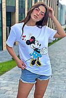 Модная женская футболка с принтом Минни Маус TITUS - белый цвет, M (есть размеры)