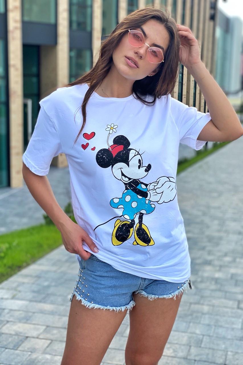 Модная женская футболка с принтом Минни Маус TITUS - белый цвет, S (есть размеры)