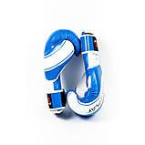 Боксерські рукавиці PowerPlay 3023 Синьо-Білі [натуральна шкіра] 16 унцій, фото 3
